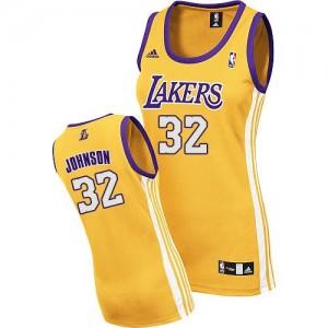 Los Angeles Lakers Magic Johnson #32 Home Authentic Maillot d'équipe de NBA - Or pour Femme