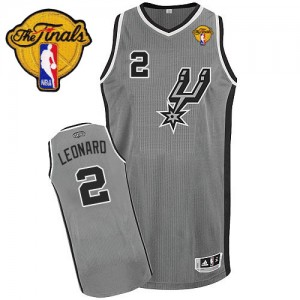 Maillot Authentic San Antonio Spurs NBA Alternate Finals Patch Gris argenté - #2 Kawhi Leonard - Enfants