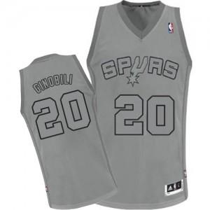 San Antonio Spurs Manu Ginobili #20 Big Color Fashion Authentic Maillot d'équipe de NBA - Gris pour Homme