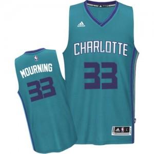 Charlotte Hornets Alonzo Mourning #33 Road Authentic Maillot d'équipe de NBA - Bleu clair pour Homme