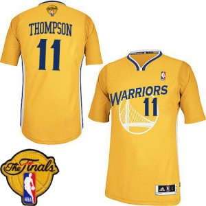 Maillot NBA Golden State Warriors #11 Klay Thompson Or Adidas Authentic Alternate 2015 The Finals Patch - Femme