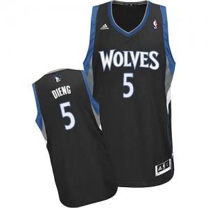 Maillot NBA Minnesota Timberwolves #5 Gorgui Dieng Noir Adidas Swingman Alternate - Homme
