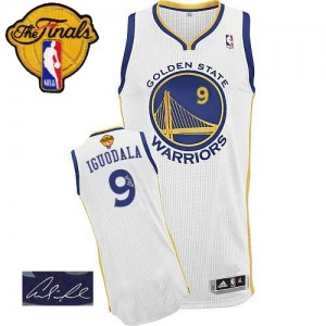 Maillot Adidas Blanc Home Autographed 2015 The Finals Patch Authentic Golden State Warriors - Andre Iguodala #9 - Homme