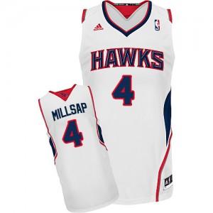 Atlanta Hawks Paul Millsap #4 Home Swingman Maillot d'équipe de NBA - Blanc pour Homme