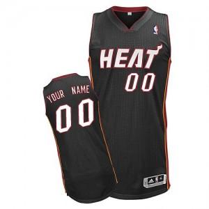 Maillot NBA Noir Authentic Personnalisé Miami Heat Road Homme Adidas