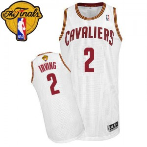 Maillot NBA Cleveland Cavaliers #2 Kyrie Irving Blanc Adidas Authentic Home 2015 The Finals Patch - Enfants