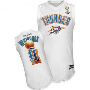 Maillot NBA Oklahoma City Thunder #0 Russell Westbrook Blanc Adidas Swingman 2012 Finals - Homme