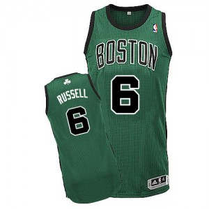 Maillot NBA Boston Celtics #6 Bill Russell Vert (No. noir) Adidas Authentic Alternate - Homme