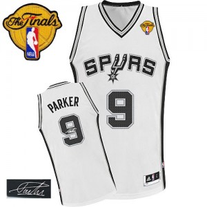 Maillot NBA San Antonio Spurs #9 Tony Parker Blanc Adidas Authentic Home Autographed Finals Patch - Homme