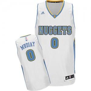 Maillot NBA Denver Nuggets #0 Emmanuel Mudiay Blanc Adidas Swingman Home - Homme