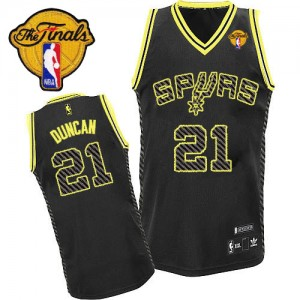 Maillot NBA Noir Tim Duncan #21 San Antonio Spurs Electricity Fashion Finals Patch Authentic Homme Adidas