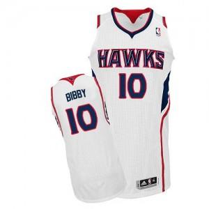Atlanta Hawks #10 Adidas Home Blanc Authentic Maillot d'équipe de NBA Remise - Mike Bibby pour Homme