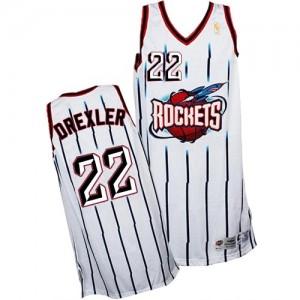 Houston Rockets Clyde Drexler #22 Throwback Swingman Maillot d'équipe de NBA - Blanc pour Homme
