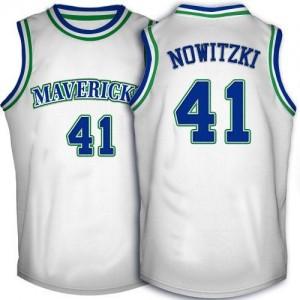 Maillot Swingman Dallas Mavericks NBA Throwback Blanc - #41 Dirk Nowitzki - Homme