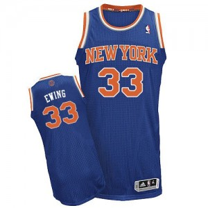 Maillot NBA Bleu royal Patrick Ewing #33 New York Knicks Road Authentic Homme Adidas