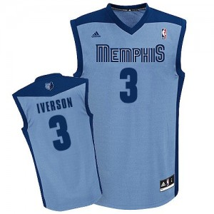 Maillot NBA Memphis Grizzlies #3 Allen Iverson Bleu clair Adidas Swingman Alternate - Homme