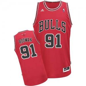 Chicago Bulls Dennis Rodman #91 Road Swingman Maillot d'équipe de NBA - Rouge pour Homme
