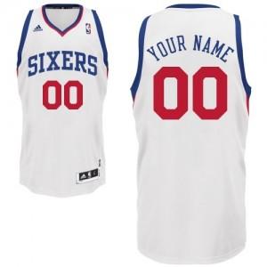 Philadelphia 76ers Personnalisé Adidas Home Blanc Maillot d'équipe de NBA pas cher - Swingman pour Homme