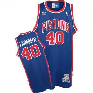 Detroit Pistons #40 Adidas Throwback Bleu Authentic Maillot d'équipe de NBA boutique en ligne - Bill Laimbeer pour Homme