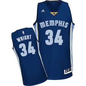 Maillot NBA Bleu marin Brandan Wright #34 Memphis Grizzlies Road Swingman Homme Adidas
