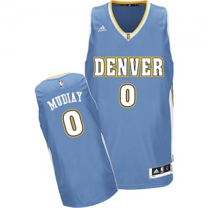 Maillot NBA Denver Nuggets #0 Emmanuel Mudiay Bleu clair Adidas Swingman Road - Homme