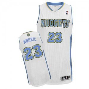 Denver Nuggets #23 Adidas Home Blanc Authentic Maillot d'équipe de NBA Peu co?teux - Jusuf Nurkic pour Homme