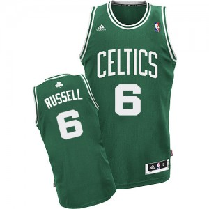 Maillot NBA Boston Celtics #6 Bill Russell Vert (No Blanc) Adidas Swingman Road - Homme