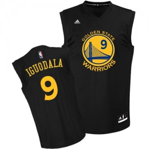 Maillot NBA Noir Andre Iguodala #9 Golden State Warriors Fashion Authentic Homme Adidas