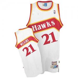 Atlanta Hawks Dominique Wilkins #21 Throwback Authentic Maillot d'équipe de NBA - Blanc pour Homme