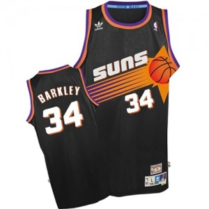 Maillot NBA Phoenix Suns #34 Charles Barkley Noir Adidas Authentic Throwback - Homme