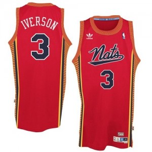 "Maillot NBA Philadelphia 76ers #3 Allen Iverson Rouge Adidas Authentic Throwback ""Nats"" - Homme"