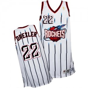 Maillot NBA Blanc Clyde Drexler #22 Houston Rockets Throwback Authentic Homme Adidas