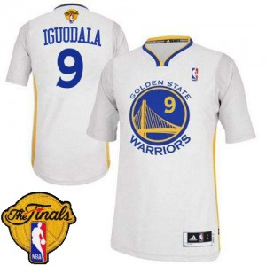 Maillot Adidas Blanc Alternate 2015 The Finals Patch Authentic Golden State Warriors - Andre Iguodala #9 - Homme