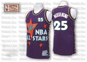Charlotte Hornets Alonzo Mourning #25 Throwback 1995 All Star Swingman Maillot d'équipe de NBA - Violet pour Homme