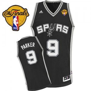 Maillot Swingman San Antonio Spurs NBA Road Finals Patch Noir - #9 Tony Parker - Homme
