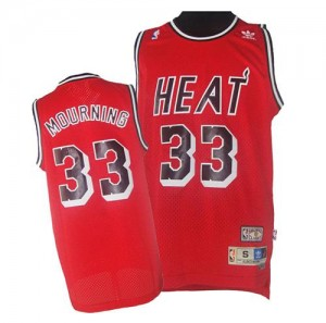 Maillot NBA Rouge Alonzo Mourning #33 Miami Heat Throwback Finals Patch Swingman Homme Adidas