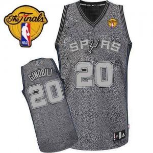San Antonio Spurs Manu Ginobili #20 Static Fashion Finals Patch Authentic Maillot d'équipe de NBA - Gris pour Homme