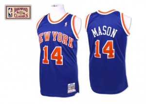 Maillot NBA Bleu royal Anthony Mason #14 New York Knicks Throwback Authentic Homme Mitchell and Ness