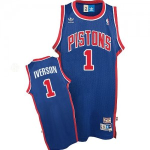 Maillot NBA Authentic Allen Iverson #1 Detroit Pistons Throwback Bleu - Homme