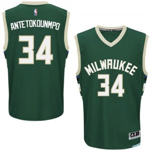 Maillot Adidas Vert Road Authentic Milwaukee Bucks - Giannis Antetokounmpo #34 - Homme