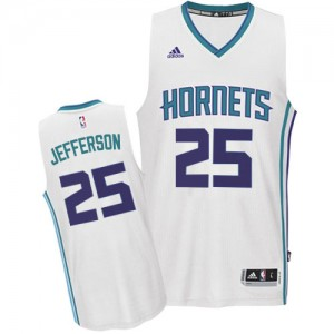 Maillot Authentic Charlotte Hornets NBA Home Blanc - #25 Al Jefferson - Homme