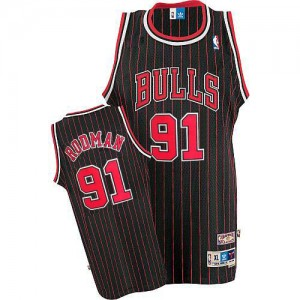 Maillot Adidas Noir Rouge Throwback Authentic Chicago Bulls - Dennis Rodman #91 - Homme