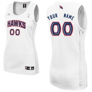 Maillot Adidas Blanc Home Atlanta Hawks - Swingman Personnalisé - Femme