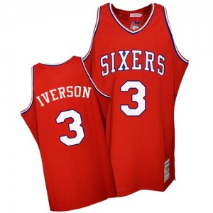Maillot NBA Authentic Allen Iverson #3 Philadelphia 76ers Throwback Rouge - Homme