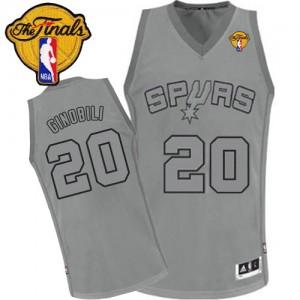 San Antonio Spurs Manu Ginobili #20 Big Color Fashion Finals Patch Authentic Maillot d'équipe de NBA - Gris pour Homme