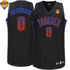Oklahoma City Thunder Russell Westbrook #0 Vibe Finals Patch Swingman Maillot d'équipe de NBA - Noir pour Homme