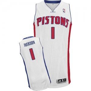 Maillot NBA Blanc Allen Iverson #1 Detroit Pistons Home Authentic Homme Adidas