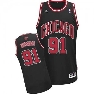 Maillot Adidas Noir Alternate Swingman Chicago Bulls - Dennis Rodman #91 - Homme
