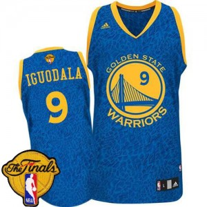 Golden State Warriors Andre Iguodala #9 Crazy Light 2015 The Finals Patch Authentic Maillot d'équipe de NBA - Bleu pour Homme
