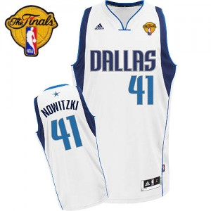 Maillot NBA Blanc Dirk Nowitzki #41 Dallas Mavericks Home Finals Patch Swingman Homme Adidas